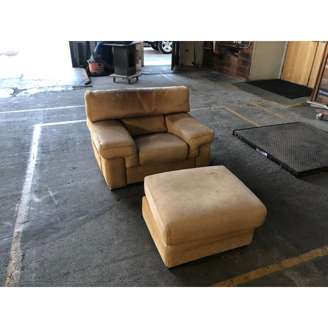 Contemporary Roche Bobois Thick Leather (Nubuck) Chair and Ottoman For Sale - Image 3 of 3
