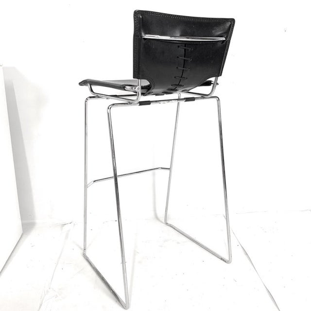 Late 20th Century Laced Leather & Chrome Bar Stools by Toyoda Hiroyuki for Icf Group, Italy For Sale - Image 5 of 9
