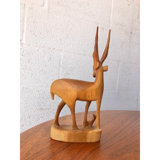 Vintage Mid Century Modern Hand Carved Wood Antelope Sculpture For Sale In Miami - Image 6 of 8