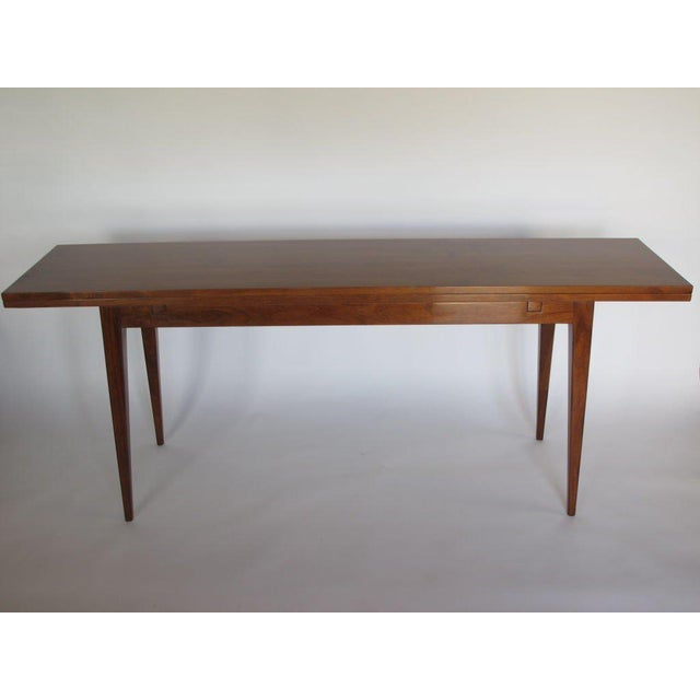 1950s Mid-Century Modern Edward Wormley for Dunbar Walnut Console For Sale - Image 9 of 10