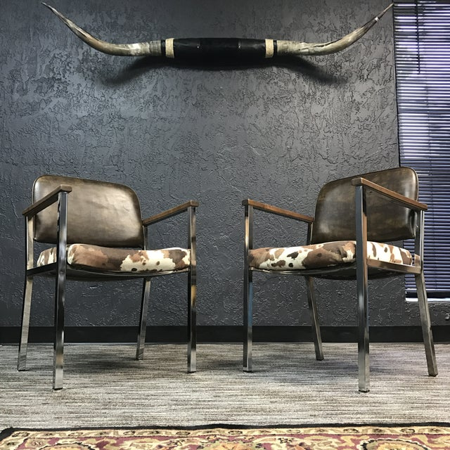 Mid-Century Faux Cowhide Chairs - A Pair - Image 2 of 8