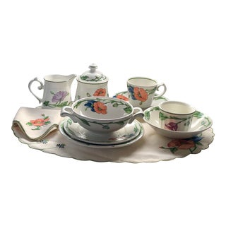 Amapola by Villeroy & Boch Partial Set of 61 Piece China and Linen For Sale