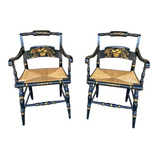 English Black and Gold Painted Wood and Rush Seat Armchairs - a Pair For Sale