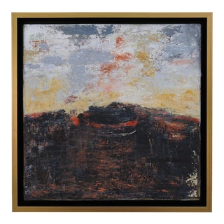 """""""Volcano"""" Contemporary Abstract Landscape Mixed-Media Painting by Laurie MacMillan, Framed For Sale"""