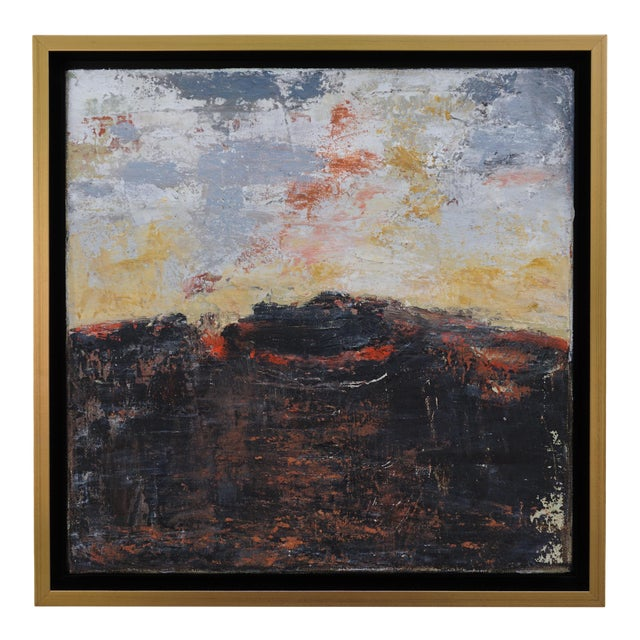 """Volcano"" Contemporary Abstract Landscape Mixed-Media Painting by Laurie MacMillan, Framed For Sale"