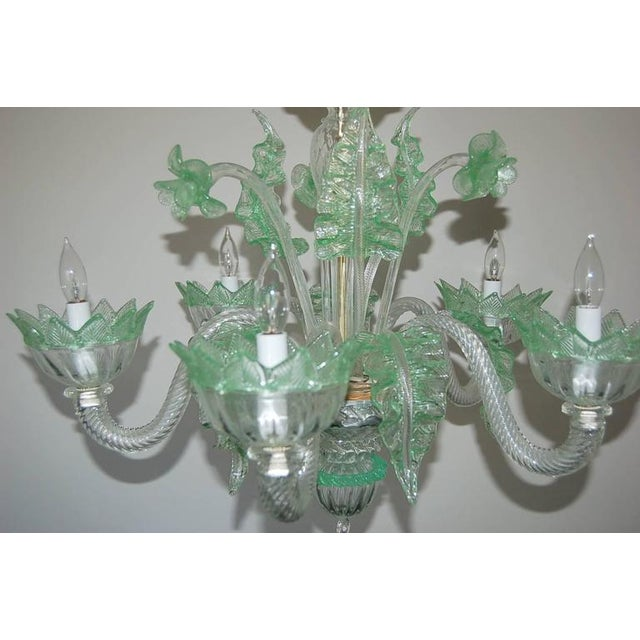 Italian Chandelier Vintage Murano Glass Clear Green For Sale - Image 3 of 10