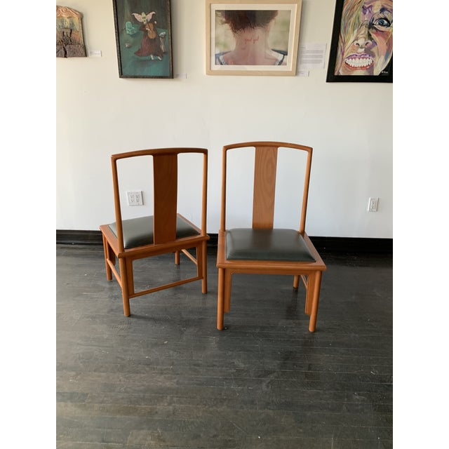Michael Taylor 1980s Vintage Michael Taylor Baker Chinoiserie Style Dining Chairs- A Pair For Sale - Image 4 of 6