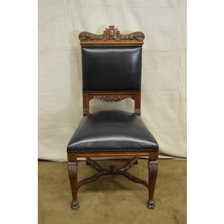 Antique Solid Walnut Carved Renaissance Style Dining Chairs - Set of 8 Preview