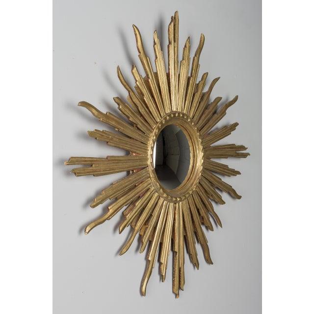 Mid 20th Century Vintage Mid-Century Italian Giltwood Sunburst Mirror For Sale - Image 5 of 8