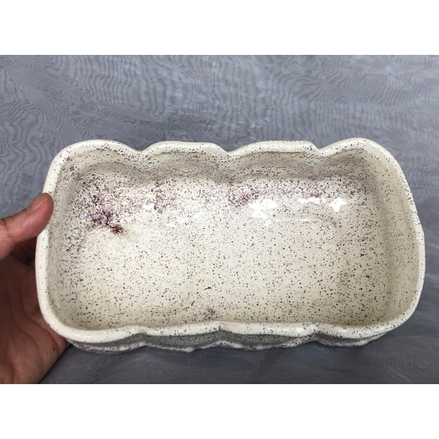 White Vintage 1950s Speckle Pottery Indoor Planter For Sale - Image 8 of 12