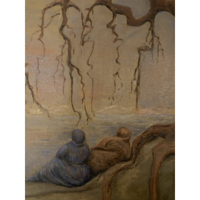 Folk Art Early 20th Century Women Waiting Under Tree for Ship Painting For Sale - Image 3 of 5