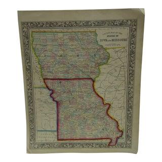 Vintage Map of Iowa & Missouri