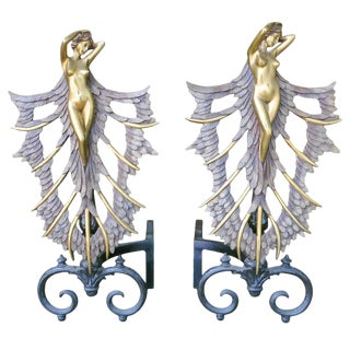 French Art Deco Style Nude Figural Female Andirons For Sale