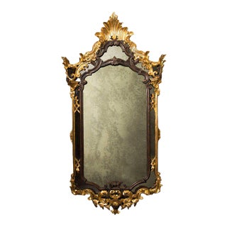 Italian Carved Giltwood Faux Tortoiseshell Mirror in Rococo Style, 19th Century For Sale