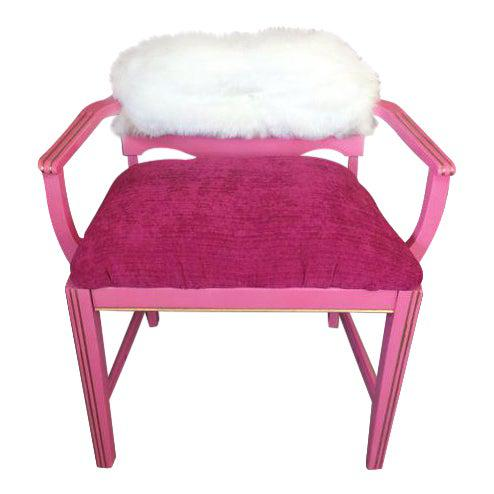 Pink 1950s Vintage Art Deco Hot Pink Vanity Chair For Sale - Image 8 of 8