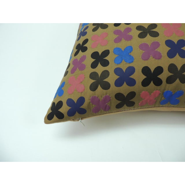 """Japonisme Quilted Cotton Red and Blue """"Osaka"""" Decorative Pillow For Sale - Image 3 of 6"""
