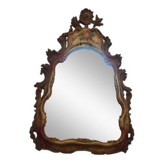 Antique Venetian Hand-Painted Wooden Mirror For Sale