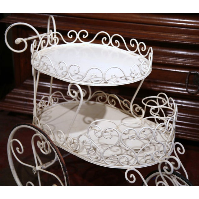 Early 20th Century French Painted Iron Two-Tier Bar Cart on Wheels for Patio - Image 8 of 8