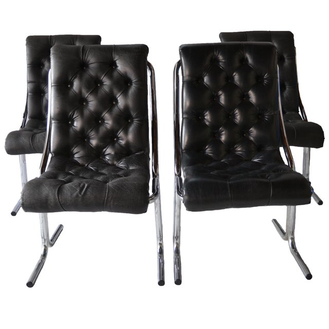 1970s Tufted & Chrome Dining Chairs - Set of 4 - Image 1 of 4