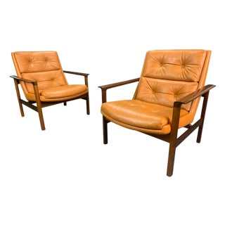 Vintage Danish Mid Century Modern Lounge Chairs- A Pair For Sale