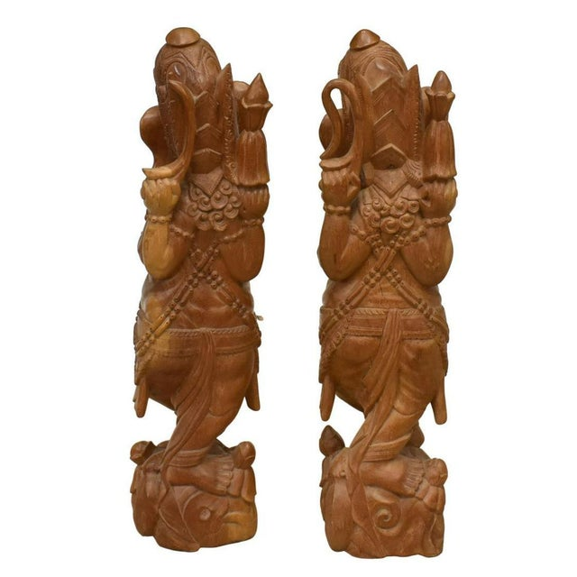 Indian Large Hand Carved Ganesha Mango Wood Sculptures - a Pair For Sale - Image 3 of 10