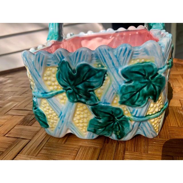 Farmhouse Vintage Faience Ceramic Ivy Basket For Sale - Image 3 of 11