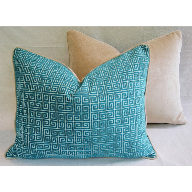 """Early 21st Century Designer Turquoise Greek Key Velvet Feather/Down Pillows 24"""" X 18"""" - Pair For Sale - Image 5 of 8"""