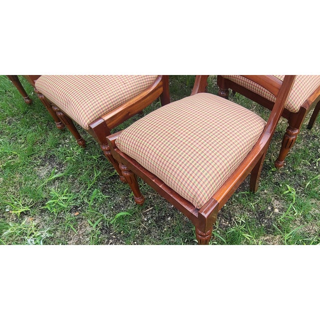 Wood 20th Century Reproduction Mahogany Empire Style Dining Room Chairs - Set of 6 For Sale - Image 7 of 13