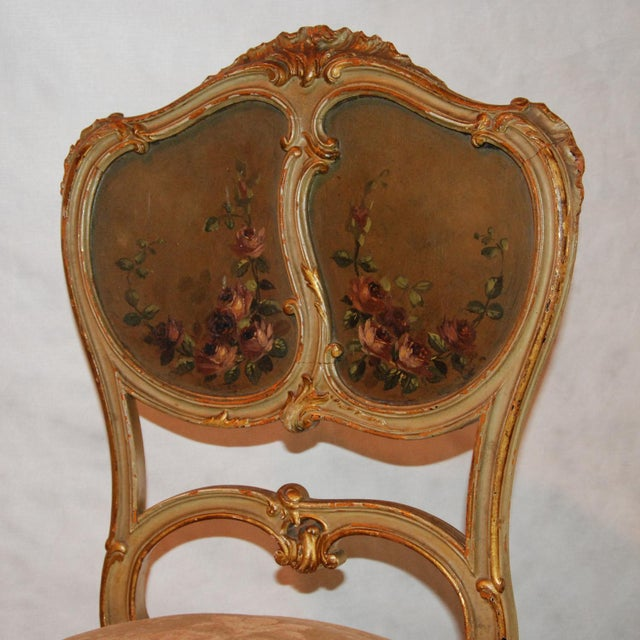 French Gilt & Painted Boudoir Chairs - A Pair For Sale - Image 10 of 11