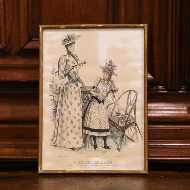 """Glass 19th Century French Color Women Fashion Prints Framed Dated 1890 """"Set of Five"""" For Sale - Image 7 of 13"""