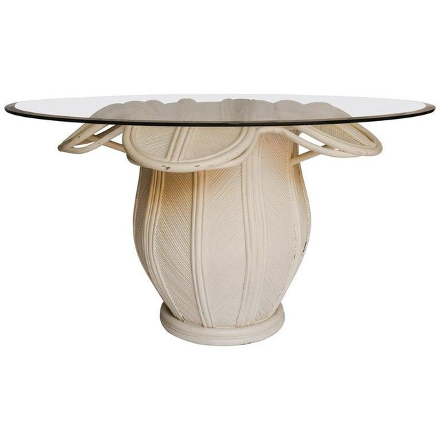 1970s Hollywood Regency Rattan Flower Dining Table With Glass Top For Sale - Image 12 of 12