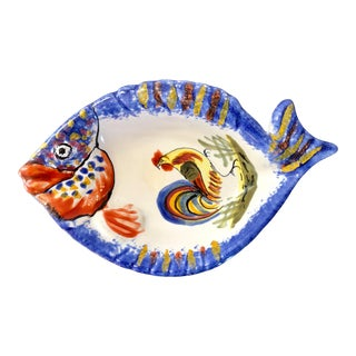 Vintage Henriot Quimper France Fish Dish For Sale