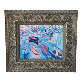 1980s Framed Reproduction of Raoul Dufy Boats Painting For Sale