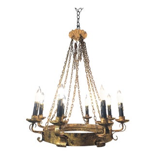 Vintage used spanish chandeliers chairish spanish hand forged wrought gilt iron chandelier aloadofball