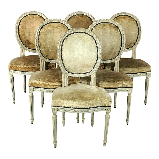 Set of 6 Antique French Painted Louis XVI Chairs For Sale