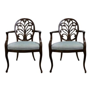 William Switzer Louis XV Carved Back Dining Armchairs - a Pair For Sale