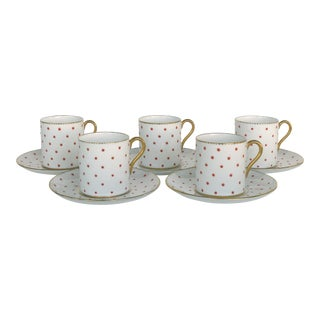 Shelley England Fine Bone China Enameled & Gilt Demitasse Cups & Saucers-Set of 5 For Sale