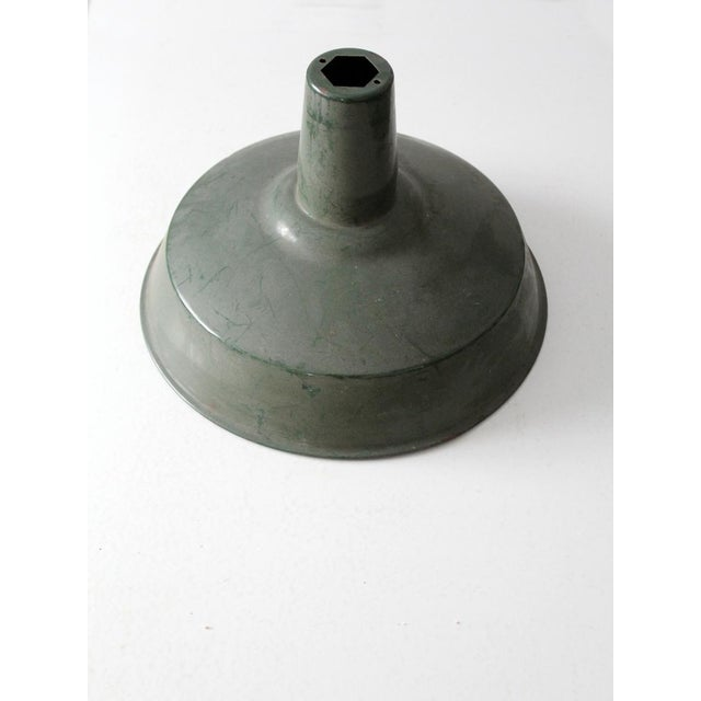 Industrial Industrial Green Enamel Pendant Lamp Shade For Sale - Image 3 of 6