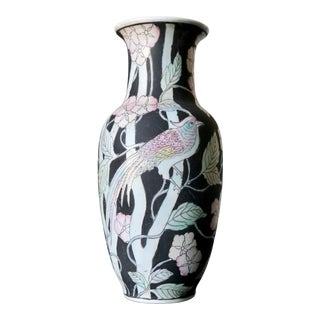 Wbi Hand-Painted Bird and Floral Print Motif Vase For Sale