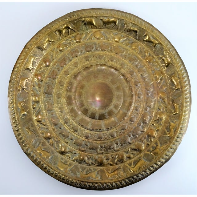 Vintage Tribal Boho Brass Decorative Tray For Sale - Image 13 of 13