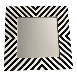 Black & White Chevron Bone Inlay Mirror For Sale