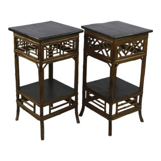 19th C. Chinese Two-Tiered Side Tables - a Pair