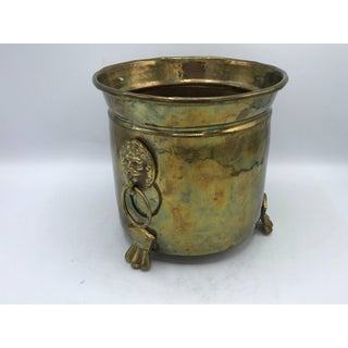 1970s Italian Hammered Brass Cachepot Planter With Lion Head and Foot Motif Preview