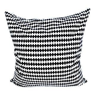 """Vintage Black and White Velvet Zipper Pattern Throw Pillow 18"""" X 18"""" For Sale"""