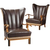 Image of 1940s Vintage Danish Leather Wingback Chairs - A Pair For Sale