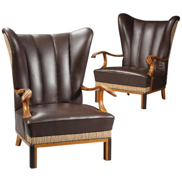 1940s Vintage Danish Leather Wingback Chairs - A Pair For Sale