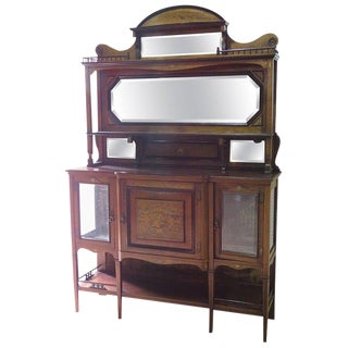 Edwardian Style Inlaid Sideboard With Superstructure For Sale