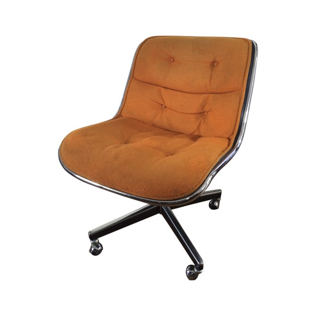 Charles Pollock for Knoll Orange Wool Office Chair For Sale