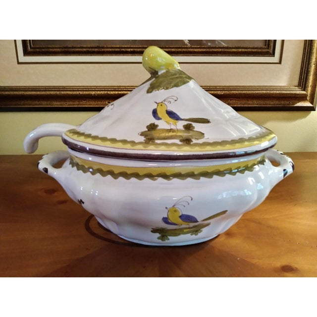 White Vintage Cantagalli Firenze Faience Italian Majolica Bird of Paradise and Lemon Soup Tureen For Sale - Image 8 of 12