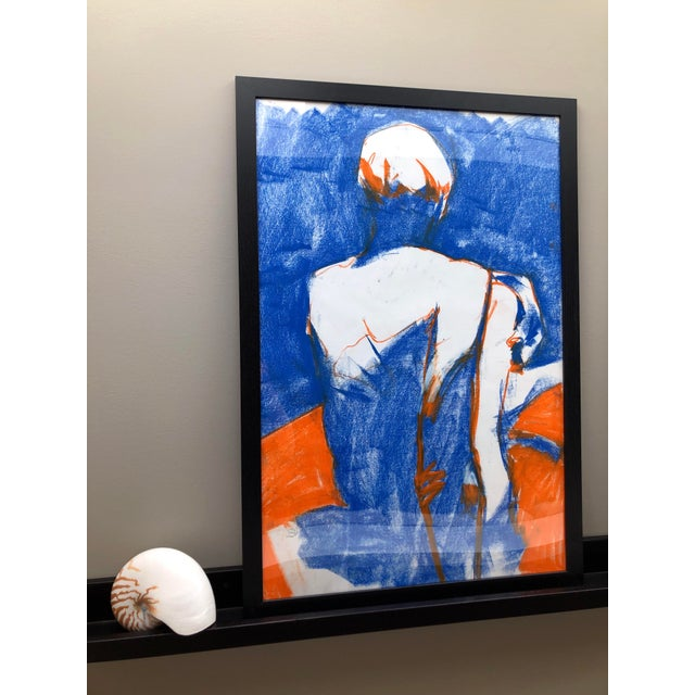 """Contemporary Contemporary Figure Drawing in Blue and Orange Pastel, """"Seated Figure in Blue and Orange"""" by Artist David O. Smith For Sale - Image 3 of 11"""